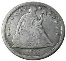 1841 United States Seated Liberty 90% Silver Dollar $1