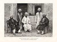 Antique Print-AFGHANISTAN-DEH HEZAREH-COSTUME-GROUP OF MEN-Reclus-Sirouy-1884