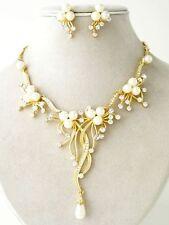Cream Pearl Austrian Crystal Flower Cascade Necklace Earring Set Bridal