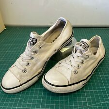 Distressed Worn In Converse All Star Black UK 2 Kids (Empty Top Lace Hole)