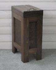 Dog Food Storage Container Handmade Solid Wood Walnut Stain holds 25 lbs food