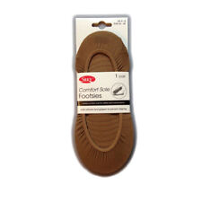 Ladies Comfort Sole Footlets with silicone heel gripper in Natural -  2 pairs