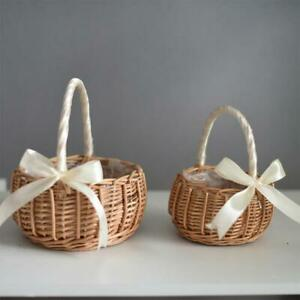 Hand-woven Flower Storage Basket Nordic Style Romantic Bow Wedding Party Decor