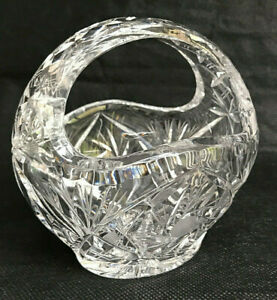 Vintage Cut Crystal Glass Basket / Dish for Sweets or Flowers