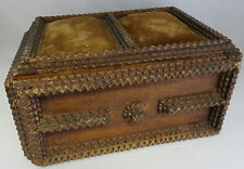 Antique wood Carved velour Folk Art Sewing Chest Box Black Forest Gothic