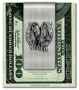 COWBOY RODEO RIDER STAINLESS STEEL MONEY CLIP PBR NFR MENS JEWELRY BULL SPORTS