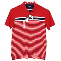 NWT Izod Advantage Mens Polo Shirt Size L Red White Blue Striped Embroidered NEW