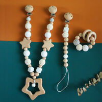 Baby Teething Toy Silicone Wood Beads Pram Rattle Stroller Toy Pacifier Clip Set