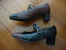 WOMENS HOMY PED COMFORT RUTH DARK BROWN LEATHER&PATENT LEATHER HEEL SHOES SZ 8.5