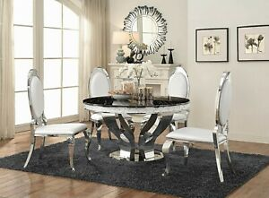 Modern 5-Piece Dining Set Round Table Faux Marble Top Stainless Steel Chrome