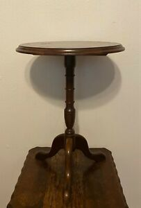 Vintage Round Pedestal Tea Occasional Side Table Plant Stand -  21.5""