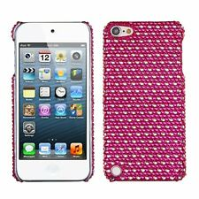 Asmyna Dots Hot Pink/White Diamante Back Protector Cover for iPod touch 5