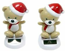 Solar Powered Toys Set of 2 Christmas Winter Bears with Red Hat Home & Car Decor
