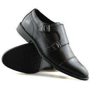 Mens New Double Monk Strap Slip On Smart Formal Designer Work Office Shoes Size
