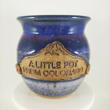 "HANDMADE ""A Little Pot from Colorado"" 3.5"" Small Pottery Vase Signed Blue"