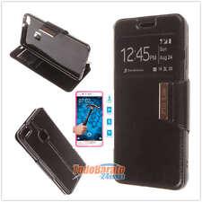"""Funda libro ventana NEGRA para Huawei P10 Lite 5.2"""" +PROTECTOR CRISTAL TEMPLADO"""