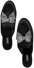 VICTORIA'S SECRET Velvet Bow Slippers, Black/Rhinestone Size S