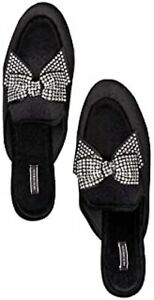 VICTORIA'S SECRET Velvet Bow Slippers, Black/Rhinestone Size S