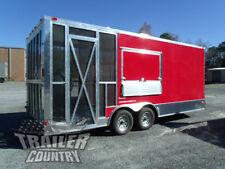 New 2022 85x20 V Nose Enclosed Cargo Concession Vending Trailer With Porch
