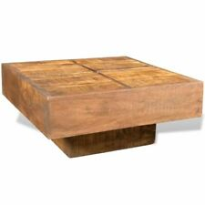 vidaXL Solid Mango Wood Cocktail Table Rustic Square Living Room Coffee Table