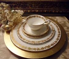 Wedgwood Whitehall #W4001-PLACE SETTING 5 PIECE White Gold Leaves Bone China
