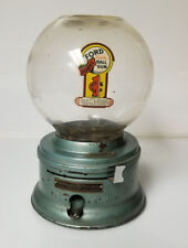 Vintage Ford Gumball Machine 1 cent Rare Green Paint bubbles in Glass Globe