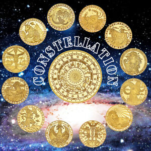 WR 12pcs Constellations Gold Foil Collectible Challenge Coin Creative Gift