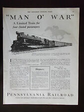"1927 Pennsylvania Railroad ""Man O' War"" Four Footed Passengers Advertisement"
