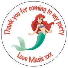 Personalised Little Mermaid Labels 37mm Stickers Party Thank You Seals -ref124
