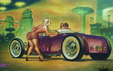 SIGNED KEITH WEESNER POSTER PRINT 1928 29 FORD HOT ROD ROADSTER ATOMIC ART RAT