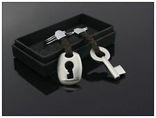 1 Pair Hand-woven Leather Alloy Plating Couple Keychain Key and Lock Love Gift