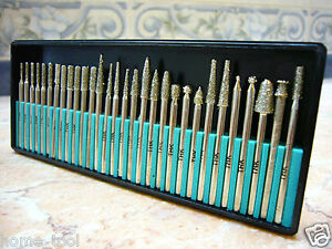 30 pieces THK Diamond coated rotary burrs burs drill bit GRIT 60 TYPE 1 points