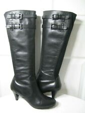 COLE HAAN NIKEAIR Black Leather / Stretch Knee High Boots Shoes Women's Size 8 B