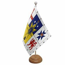 "AUSTRALIAN ROYAL STANDARD TABLE FLAG 9""X6"" WITH WOODEN BASE FLAGS AUSTRALIA"