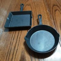 Cast Iron Cookware Decorative -  Set Of 2 - Square & Round