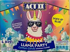 NEW ACT II LLAMA PARTY COTTON CANDY MICROWAVE POPCORN 6 BAGS 16.5 OZ (468g) BOX