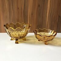 Amber Vintage Glass Dishes x2 Art Deco 1930s