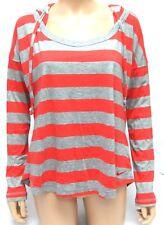 NIKE Ladies Long Sleeved T SHIRT Hooded Sport Top RED GREY Stripe LARGE