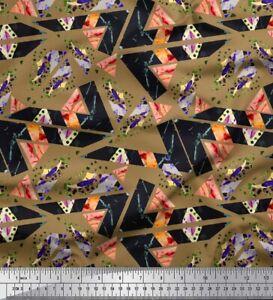 Soimoi Cotton Poplin Fabric Geometric Abstract Print Fabric by the-tmL