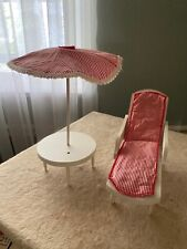 Vintage Chaise Lounge, Table, and Umbrella for Barbie and Ken Size Dolls