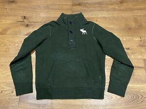Abercrombie and Fitch Men's Khaki Green Henley Jumper size Medium - M