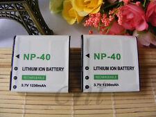 2x 1230mAh 3.7v NP-40 Battery For Casio EXILIM EX-FC100 FC150 Z1000 Z1200 Z400