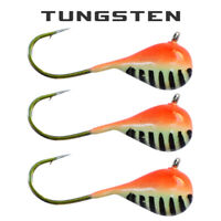 3 Pack - Tungsten Ice Fishing Jigs - ORANGE STRIPE GLOW (6 Size Variations)