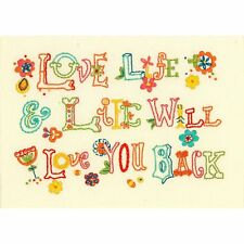 "Love Life Embroidery Kit Dimensions 7"" x 5"" Muslin Fabric kit Thread Flowers New"