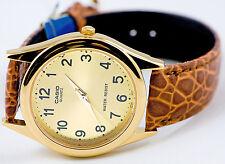 Casio MTP-1093Q-9B Mens Analog Watch Gold Tone Quartz Brown Leather Band New