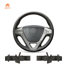 Black Artificial Soft Leather Steering Wheel Cover Wrap for Acura MDX 2009-2012