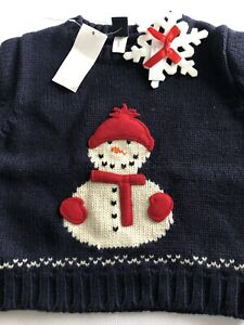 BABY GAP NAVY BLUE SNOWMAN Winter HEAVYWEIGHT PULLOVER SWEATER 12-18 MO NEW NWT