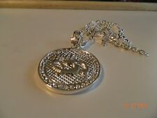 MIP-Silver Tone Gunit SPINNER  pendant w/ matching 30 inch chain