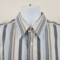 Eddie Bauer Wrinkle Resistant Gray Blue Striped Men's L/S Button Shirt Medium M