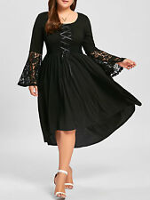 Plus Size Lace Panel Lace Up High Low Dress Wedding Formal Swing Dress